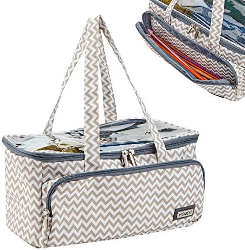 HOMEST Yarn Storage Bag with Clear Top Portable Knitting Tote for Yarn Skeins Crochet Hooks product image