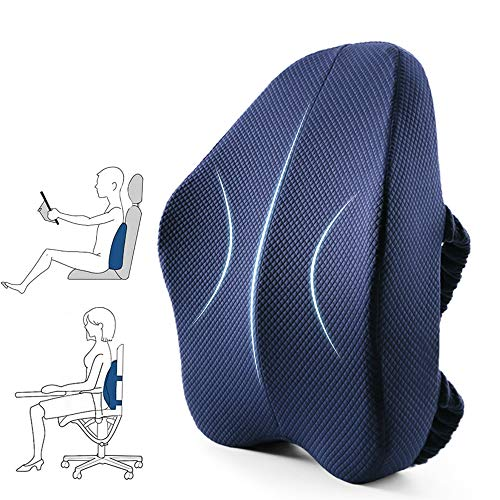 Back Cushion Lumbar Support Pillow for Office Desk Chair -Memory Foam Breathable for Lower Back Pain Relief Improve Posture, DUAL Adjustable Straps for Computer Gaming Chair, Car Seat, Recliner, Couch