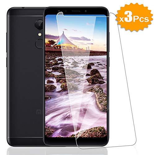 [3 Pack] Amonke Protector de Pantalla para Xiaomi Redmi 5 Plus Cristal Templado, Plana pero Incompleta Cobertura, 9H Dureza 2.5D curvo Borde Vidrio Templado Screen Protector para Xiaomi Redmi 5 Plus