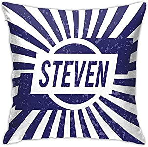 DHNKW Throw Pillow Case Cushion Cover,Common English First Name For Boys In Blue and White Retro Composition ,18x18 Inches