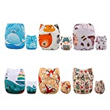 ALVABABY Baby Cloth Diapers One Size Adjustable Washable Reusable for Baby Girls and Boys 6 Pack with 12 Inserts 6DM24