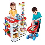 TYRUS ONE Kitchen Play Set, Plastic Pretend Play Supermarket for Kids, Super Market Set Toy, Mini Supermarket,Cash Register,Shopping Cart Toy Set for Boys and Girls