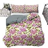 UNOSEKS LANZON - Juego de funda de edredón de organza con ramas y hojas, diseño de flores, muy suave, color rosa, lila y verde pálido, 203 x 230 cm
