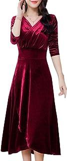 maweisong 女性ロングスリーブVネックベルベットスイング伸縮ロングドレス