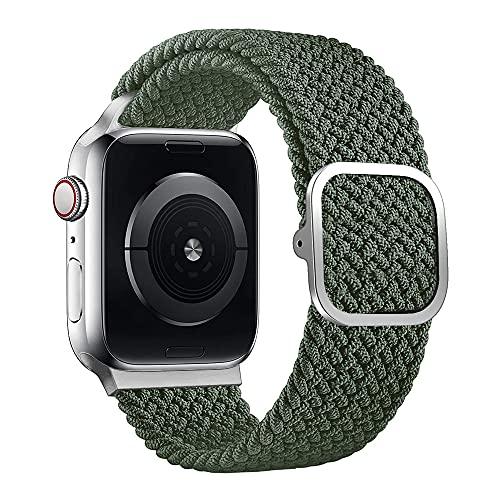 JLLTiioo Pulsera Trenzada Solo Loop de Longitud Ajustable Compatible con Apple Watch 44/42mm 40/38mm iWatch Series 6/5/4/3/2/1/SE (40/38mm (Muñeca 140-210mm), Verde de Inverness)