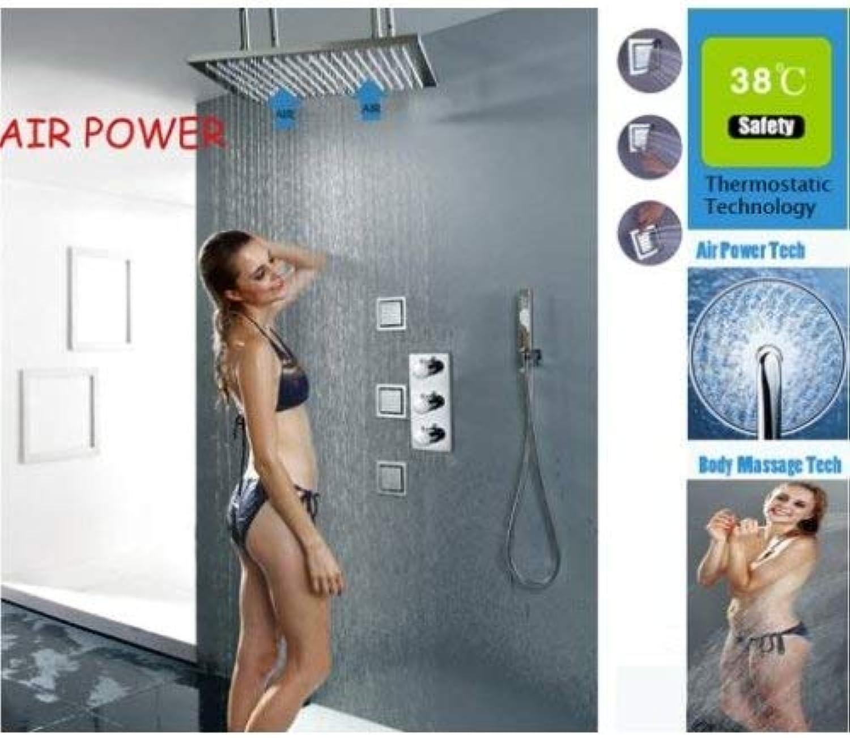 HSDDA Badezimmer-Regendusche mit Thermostat, 50,8 cm, gebürstete Lufteinspritzung, Regenduschkopf mit Massagedüsen