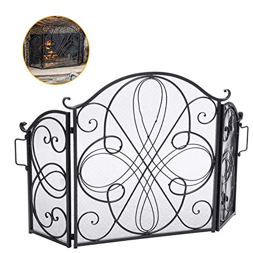 Best Review Of LQQ Black Fireplace Screen 3-Panel, Tall Modern Foldable Fire Spark Guard Gate Metal ...