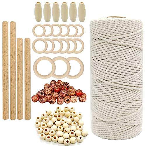 HTRUIYATY DIY Corda Cotone Naturale Macrame 3mm con 100+ Perline di Legno,15 Anelli di Legno,4 Bastoncini di Legno Kit Macrame per Principianti Lavori A Maglia