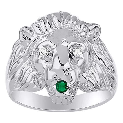 Amazing Conversation - Anillo de plata de ley 925 con diamante natural auténtico y una hermosa cabeza de león verde esmeralda