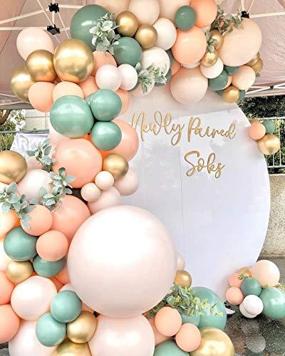 126PCS Sage Olive Green Peach Blush Pink Balloon Garland Arch Kit, Baby Shower Wedding Jungle Theme Balloons Party Decorations Supplies Unisex Boy Girls, Sage Olive Green Peach Blush Pink Balloons
