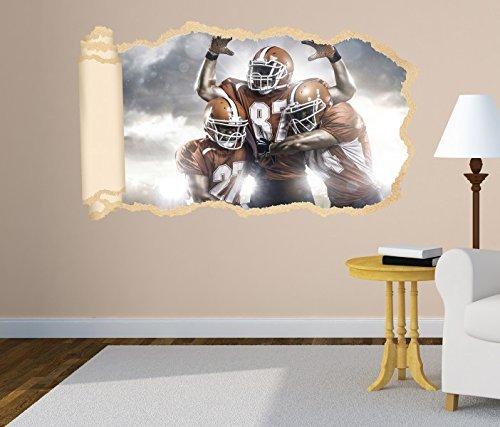 3D Wandtattoo Tapete American Football Touchdown Sport Wand Aufkleber Wanddurchbruch Deko Wandbild Wandsticker 11N1095, Wandbild Größe F:ca. 140cmx82cm