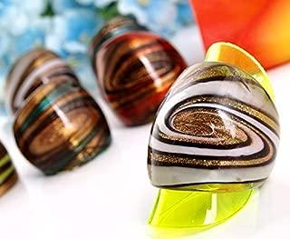 Ecloud Shop 12 X Stripe Glass Murano Lampwork Rings 4 Colors FASHION