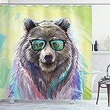 ABAKUHAUS Duschvorhang, BAER Portrait mit Großem Gläsern Hipster Alternativ Vintage Retro Animal Druck Bunte Farben, Blickdicht aus Stoff inkl. 12 Ringe für Das Badezimmer Waschbar, 175 X 200 cm