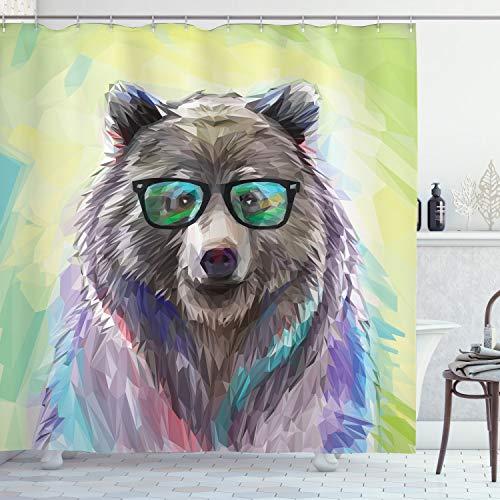 ABAKUHAUS Hipster Duschvorhang, Farbige Wilde Bärenkunst, mit 12 Ringe Set Wasserdicht Stielvoll Modern Farbfest & Schimmel Resistent, 175x180 cm, Lindgrün Lila Grün Blau