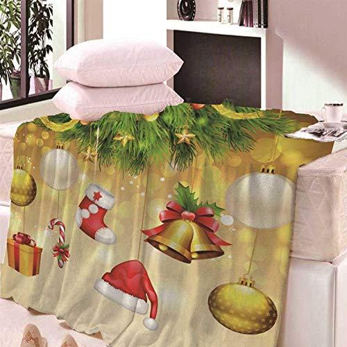 Manta De Sofá Blanket Manta Decorativa Navideña De Lana De Coral De Felpa Súper Suave, Estilo Nórdico Impreso En 3D para Sofá Cama, Manta De Colcha 180X200Cm Azul