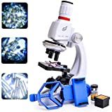 子供顕微鏡セット 初心者顕微鏡セット マイクロスコープ ミニ顕微鏡 LEDとミラー照明付き 初心者用 最高プレゼント 小学生 中学生 高校生科学実験学習 知恵 おもちゃ 倍率切り替え可能 (100X、400X、1200Xの拡大倍率) (ホワイト)