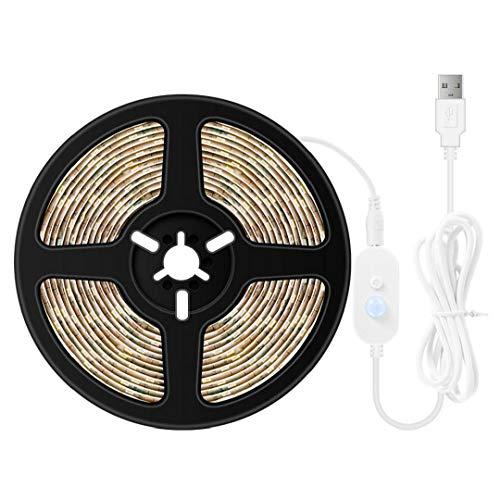 LED Franja USB luz de LED flexibles Tiras de cama noche de la tira del sensor de movimiento de luz debajo de la barandilla se enciende para el armario de la cocina Bajo Kit de iluminación del gabinete
