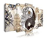 DekoArte 455 - Cuadros Modernos Impresión de Imagen Artística Digitalizada | Lienzo Decorativo Para Tu Salón o Dormitorio | Estilo Ying Yang Abstractos Zen Colores Beige Marrón | 5 Piezas 150 x 80 cm