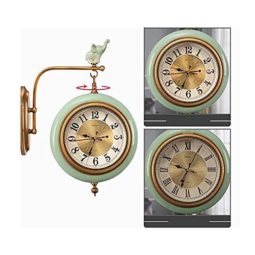XIN XIN Reloj De Pared De Doble Cara con Visualización De Tiempo Números Romanos Números Arábigos Marco De Reloj De Cerámica