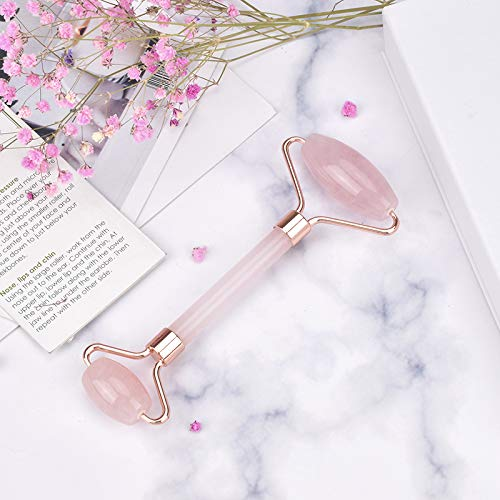 Jade Roller for Face Nose Eyes Neck and Body 100% Rose Quartz Stone Face Massager for Anti-Wrinkle Anti-Ageing Skin Tightening Sinus Puffy Eyes Relief Helps with Sliming Firming Blood Circulation