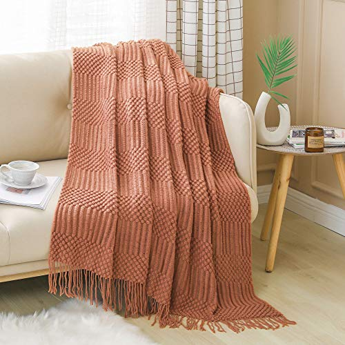 PANDAHOME Textured Throw Blanket Solid Soft for Sofa Couch Decorative Knitted Blanket, 50' x 60',...