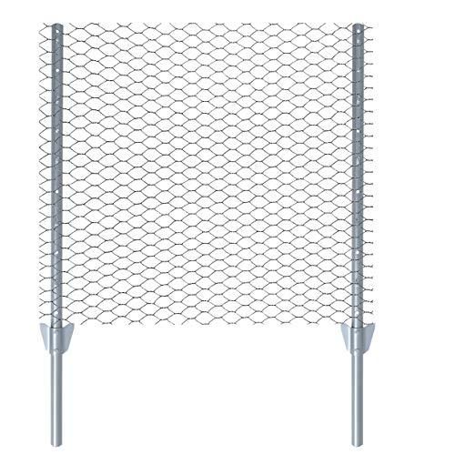 ESTEXO Zaun-Set Komplett-Set Sechseckgeflecht Zaun Draht Hasendraht Drahtzaun Drahtgeflecht 6eck Gartenzaun Drahtgitter mit Pfosten (Verzinkt / 13 mm / 0,75 x 25 m)