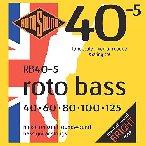 Rotosound - Cuerdas para bajo (entorchado redondo, calibres: 40 60 80 100 125)