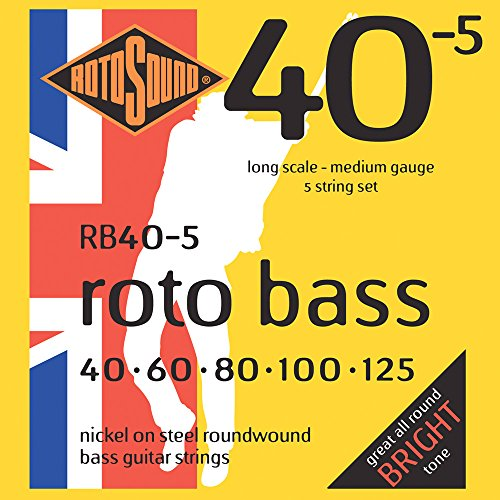 Rotosound Nickel Medium Gauge Roundwound Bass Strings (40 60 80 100 125)