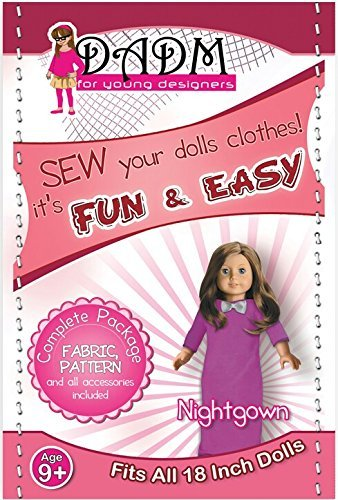 Sewing kit for girls, 18 Inch Doll Pattern, and Fabric, Nightgown, Fits American Girl Doll (Purple)
