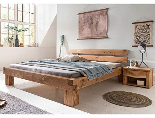 expendio Balkenbett Tamme + Nachttisch Wildeiche geölt Größe nach Wahl Massivholzbett Holzbett Doppelbett Singlebett Schlafzimmer, Liegefläche:180 x 200 cm, Set-Inhalt:Bett + 2X Nako