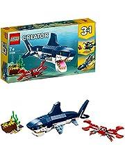 LEGO 31088 Creator Diepzeewezens: Haai, krab en inktvis of zeeduivel, 3-in-1 kustavonturen bouwset, Speelgoed voor kinderen van 7 jaar en ouder