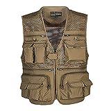 Kedera Men's Mesh Breathable Openwork Camouflage Journalist Photographer Fishing Vest Waistcoat Jacket Coat (Khaki, Medium)