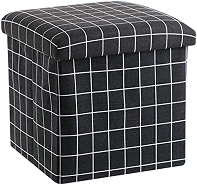 """Eif Storage Ottoman, Foldable Cube Ottoman with Storage for Children, Foot Rest, Cloth Foot Stools and Ottomans with Memory Foam and Faux Linen Seat 12""""X12""""X12"""""""