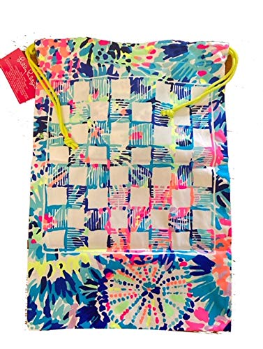 Lilly Pulitzer Beach Game with Canvas Bag, Dice Shaker, 40 Game Pieces, 3 Dices White Pink Blue