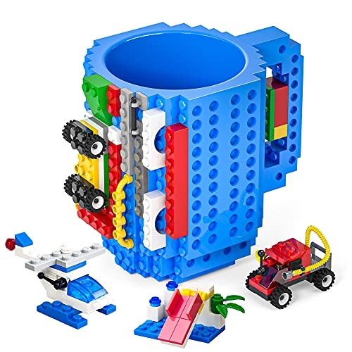 DAYMOO Build-On Brick Mug with Handle,with 3 Packs of Blocks at Random,Creative DIY Building Blocks Cup,Novelty Coffee Mugs Compatible with Lego,Birthday Party Cups for Kids,Blue