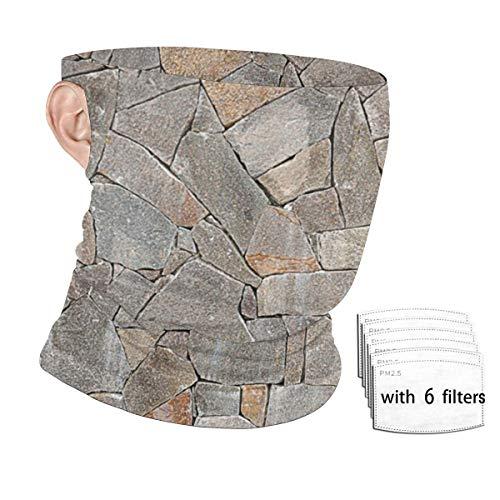 LouisBerry Gesichtsschal, große gestapelte Steine, Halstuch, Unisex, Outdoor, Ohrenmontage, Windschutz, Bandana mit Filtern