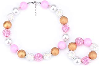 Pink Gold White Chunky Bubblegum Necklace and Bracelet Set Girls' Birthday Gift Cake Smash Outfit