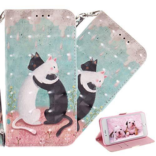COTDINFOR Nokia X5 Custodia Animale Carino 3D Effetto Verniciato Custodia in Pelle PU Flip Cover Chiusura Magnetica Shockproof Card Case per Nokia 5.1 Plus 2018 / Nokia X5 Black White Cat TX.