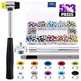 Swpeet 500Pcs 10 Colors 3/16 inch Metal Grommets Kit with Rubbe Lightweight Soft Mallet, Multi-Color Metal Eyelets Kits with Installation Tools for Gunsmithing Tools Leather Crafts Jewelry Wood