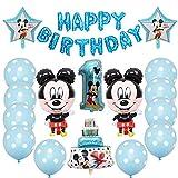 Decorazioni di Compleanno di Topolino Blu per Ragazzi, Palloncino di Topolino Birthday Foil Balloon per Feste Tema di Compleanno Baby Shower Decorazioni
