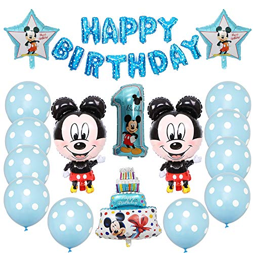 Geburtstagsdeko 1 Jahr Junge, Mickey Themed Party Dekorationen Geburtstagsfeier Set, Geburtstag Dekoration Folie Ballons, Erst Geburtstag 1 Jahr Deko Luftballon Blau Konfetti Helium Set