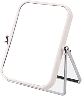 Vanity Mirror Desktop Makeup Mirror Foldable Stand for Easy Carrying Double-Sided HD Silver Plating for Home Dressing Room (Color : White, Size : 19.3 * 16.3cm)