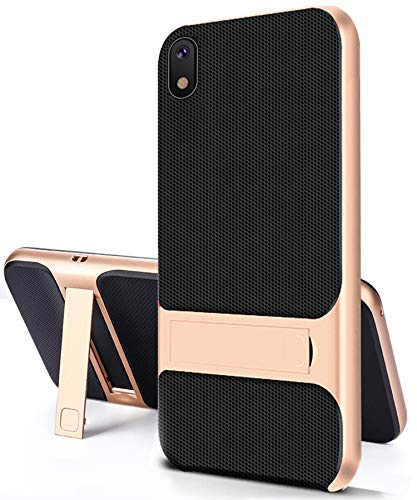 Galaxy A10 Case Kickstand Compatible with Samsung Gaxaly a 10 Phone Cover Stand Holder samsuna 10a Cases [Dual Layer] [PC+TPU] Matte A10case Protective Skins Thin Slim Bumper 6.2 inch 2019 (Gold)