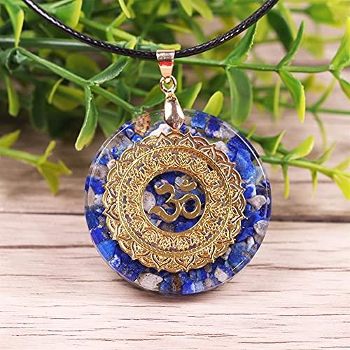 KAUG Colección Natural Lapis Lazuli Collar Orgonita Collar Colgante Energía Curación Curación Collar de Yoga Joyería de meditación para Mujeres (Length : 50cm)