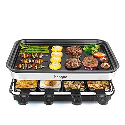 Raclette Grill für 8 Personen, 8 Mini Raclette Pfännchen zum Kochen von Käse und Beilagen & Ein Holzspatel Raclette, Flexibler Temperaturregelung,Große Quadratische Antihaft-Kochfläche - 1500W
