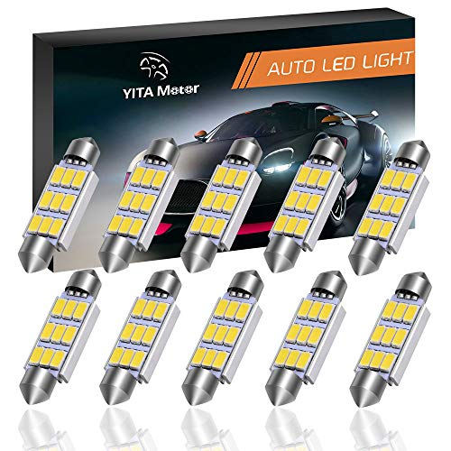 YITAMOTOR 10 Pcs 44MM 5630 Clip 9SMD White Color Festoon Dome Map Interior High Power LED Light Bulb 211-2 578