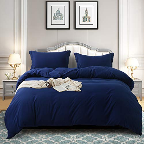 TEKAMON Luxury 3 Piece Duvet Cover Set - Ultra Soft Breathable, 100% Hypoallergenic Brushed Microfiber Bedding - 1 Comforter Cover with Zipper Closure+2 Pillow Shams (Full, Navy Blue)