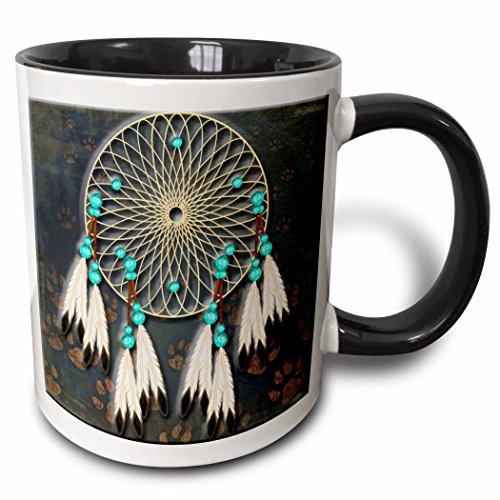 3dRose Designer One Of A Kind Native American Art Two Tone Mug, 11 oz, Black/White