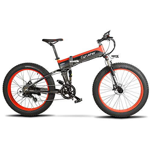Cyrusher XF690 750w Electric Bike 7 Speeds Full Suspension Mountain Folding Bike Fat Tire Hydraulic Electric Bike with 12.8ah Lithium Battery (Red)