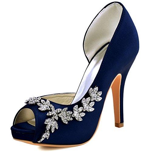ElegantPark HP1560IAC Mujer Plataforma Peep Toe TAC¨®n Aguja Satin Zapatos De Noche Azul Marino EU 40